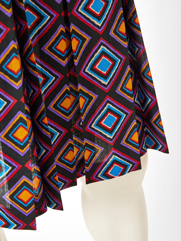 Yves Saint Laurent Rive Gauche Geometric Print Wool Challis Skirt In Good Condition For Sale In New York, NY
