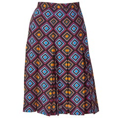 Yves Saint Laurent Rive Gauche Geometric Print Wool Challis Skirt