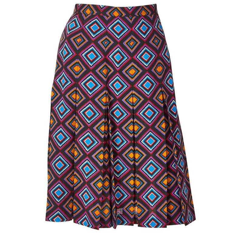 Yves Saint Laurent Rive Gauche Geometric Print Wool Challis Skirt For Sale
