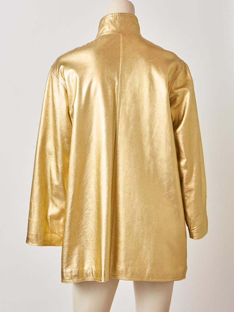 Yves Saint Laurent Rive Gauche Gold Leather Jacket In Good Condition For Sale In New York, NY