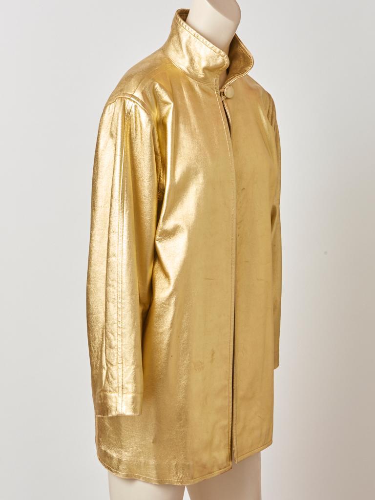 Women's Yves Saint Laurent Rive Gauche Gold Leather Jacket For Sale