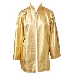 Yves Saint Laurent Rive Gauche Gold Leather Jacket