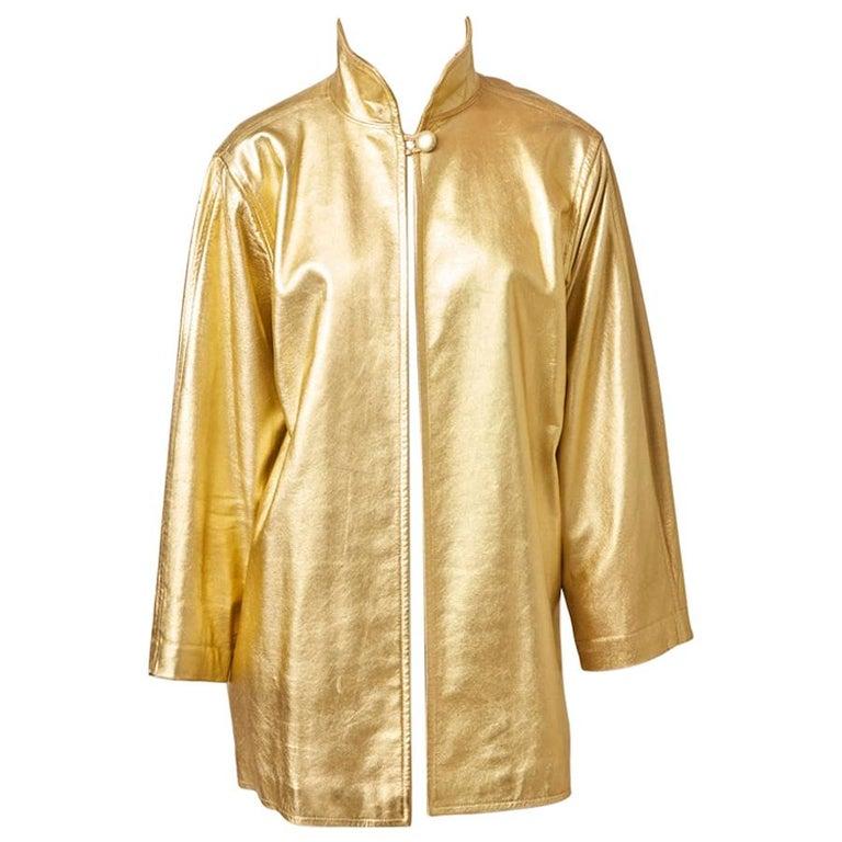 Yves Saint Laurent Rive Gauche Gold Leather Jacket For Sale