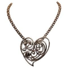 Yves Saint Laurent Rive Gauche Heart Pendant Necklace 1980s
