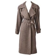 Yves Saint Laurent Rive Gauche Herringbone Tweed Belted Coat