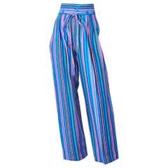 Yves Saint Laurent Rive Gauche High Waist Wide Leg Stripe Pant