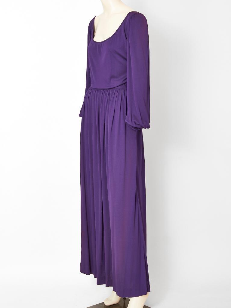 Purple Yves Saint Laurent Rive Gauche Jersey Gown For Sale