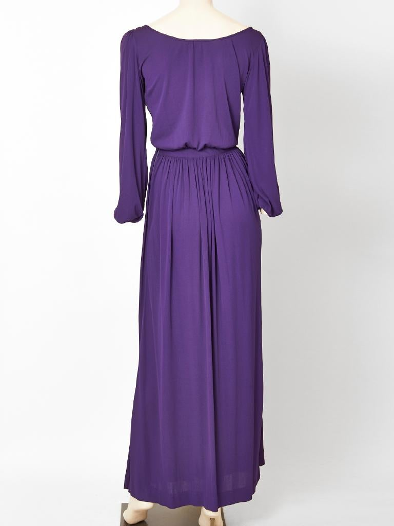 Yves Saint Laurent Rive Gauche Jersey Gown In Good Condition For Sale In New York, NY