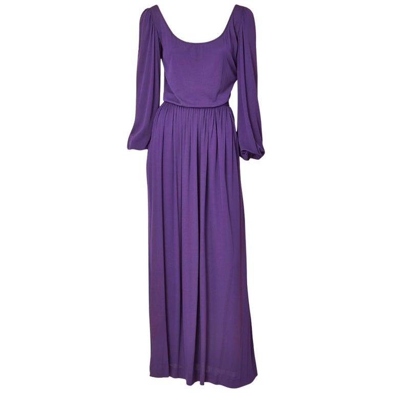 Yves Saint Laurent Rive Gauche Jersey Gown For Sale