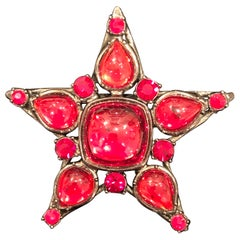 Yves Saint Laurent Rive Gauche Large Cabachon Faux Ruby Vintage Star Pin Brooch