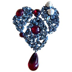 Yves Saint Laurent Rive Gauche Large Heart Pin Brooch with Drop