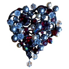 Yves Saint Laurent Rive Gauche Large Heart Pin Brooch with Tremblant Beads