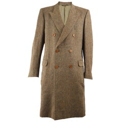 Yves Saint Laurent Rive Gauche Men's Alpaca & Virgin Wool Tweed Overcoat, 1970s