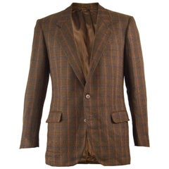 Yves Saint Laurent Rive Gauche Men's Brown Checked Wool & Mohair Jacket 1970s