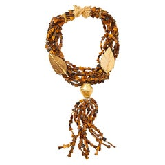 Yves Saint Laurent  Rive Gauche Multi Strand Tiger's Eye Necklace
