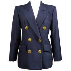 Yves Saint Laurent Rive Gauche Navy Jacket Circa 1990