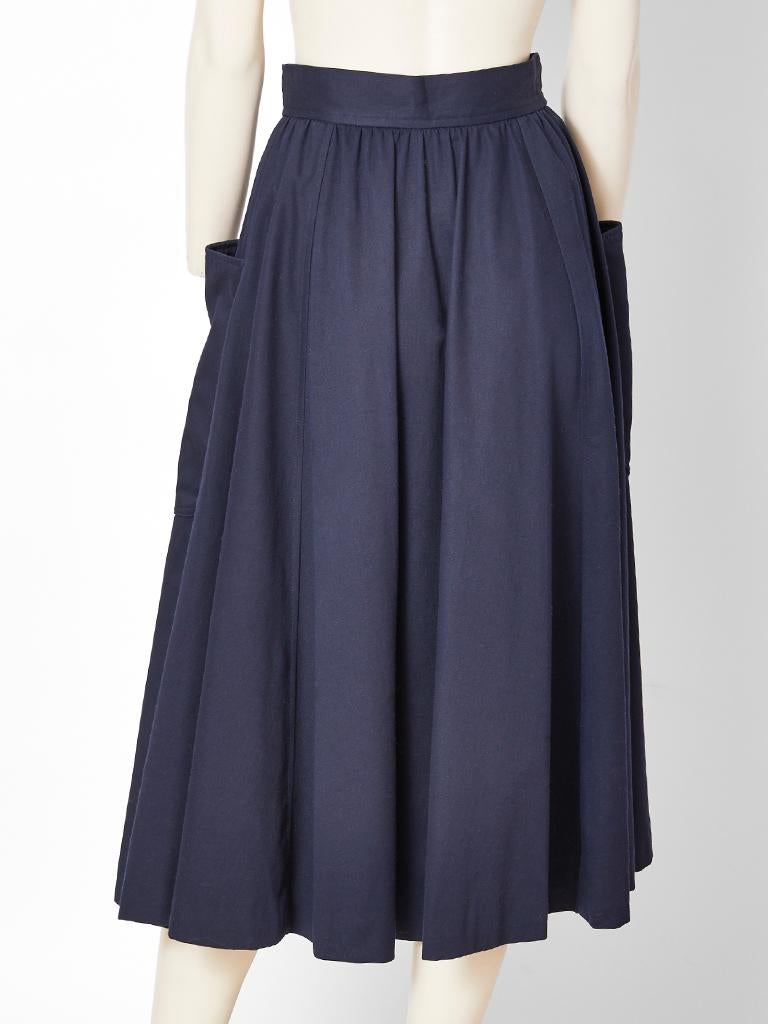 Yves Saint Laurent Rive Gauche Patch Pocket Midi Skirt In Good Condition For Sale In New York, NY