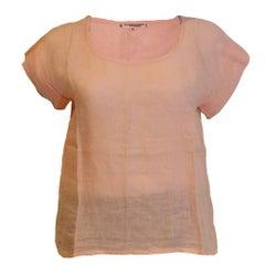 Yves Saint Laurent Rive Gauche Pink Linen Top