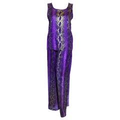 Yves Saint Laurent Rive Gauche Purple & Gold Flecks Snake Print 2 Pc. Pant Set