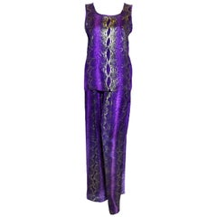 Yves Saint Laurent Rive Gauche Purple & Gold Flecks Snake Print 2 Pc. Pant Set