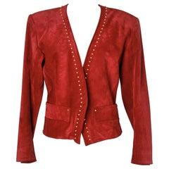 Yves Saint Laurent Rive Gauche red genuine  suede 80's jacket