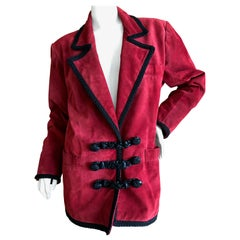 Yves Saint Laurent Rive Gauche Red Suede Jacket with Leather Frog Closures