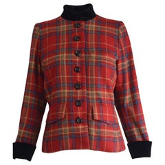 Yves Saint Laurent Rive Gauche Red Tartan Checked & Black Velvet Blazer, 1980s