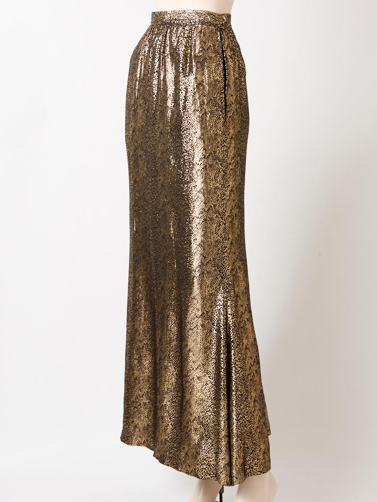 Brown Yves Saint Laurent Rive Gauche Reptile Pattern Gold Lame Evening Skirt For Sale