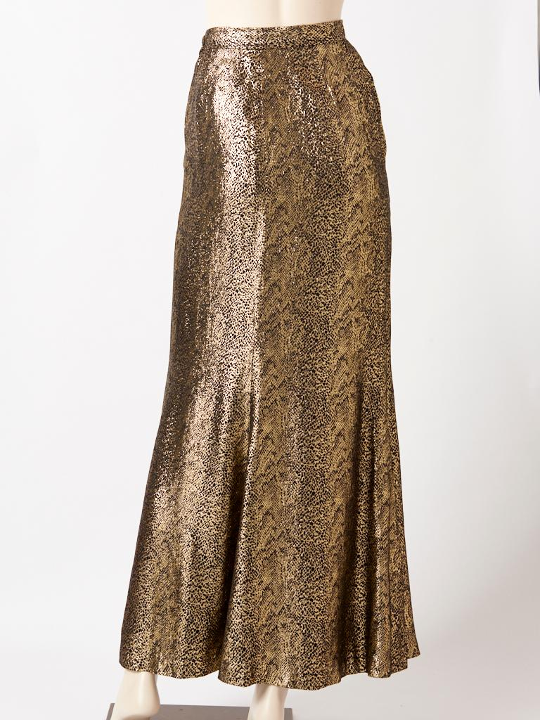 Yves Saint Laurent Rive Gauche Reptile Pattern Gold Lame Evening Skirt In Good Condition For Sale In New York, NY