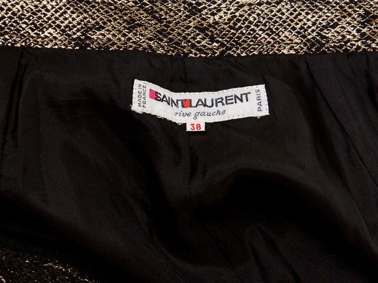 Yves Saint Laurent Rive Gauche Reptile Pattern Gold Lame Evening Skirt For Sale 1