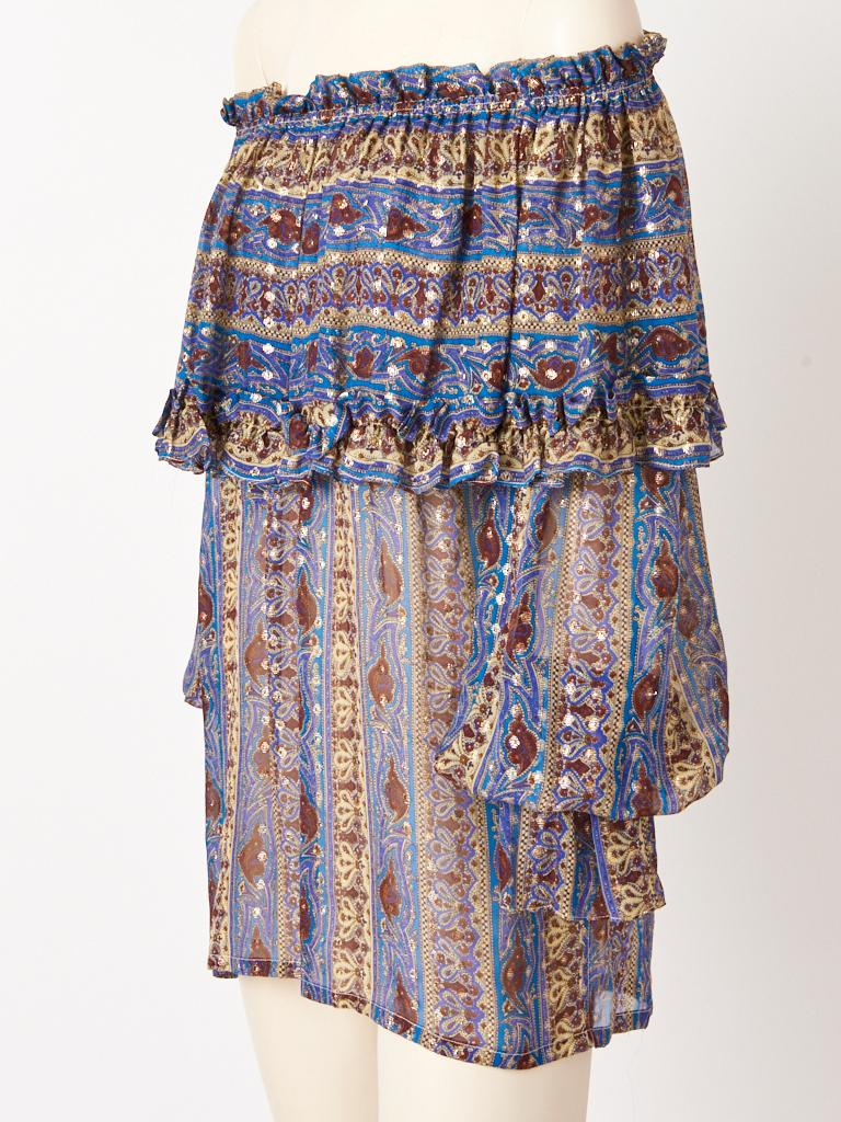 Yves Saint Laurent Rive Gauche, cerulean blue, patterned, chiffon and gold lurex, Russian Collection, peasant blouse, having a deep, elasticized flounced collar that can be worn off the shoulder and full sleeves having shirred elastic cuffs.