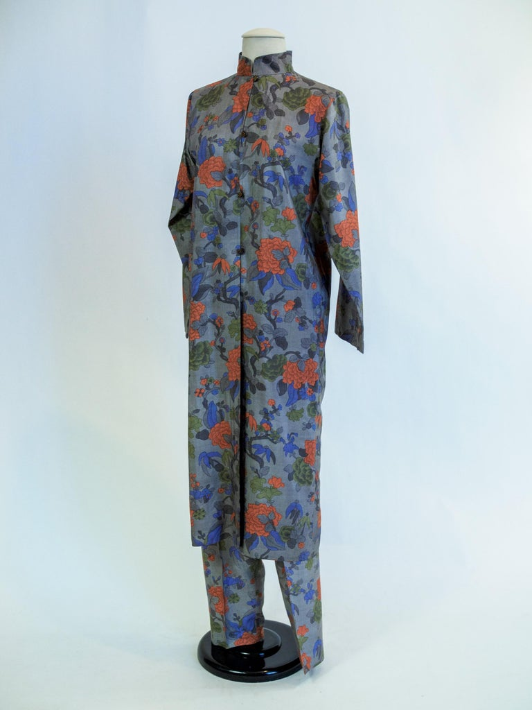 Yves Saint Laurent Rive Gauche set in printed silk number 55220 Fall Winter 1979 For Sale 5