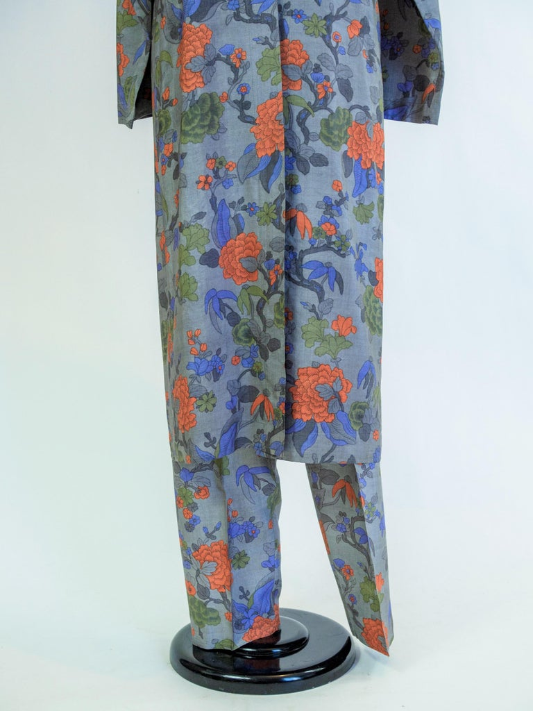 Yves Saint Laurent Rive Gauche set in printed silk number 55220 Fall Winter 1979 For Sale 8