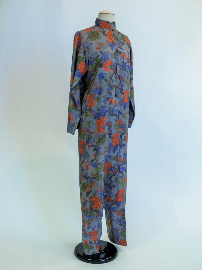 Yves Saint Laurent Rive Gauche set in printed silk number 55220 Fall Winter 1979 For Sale 4