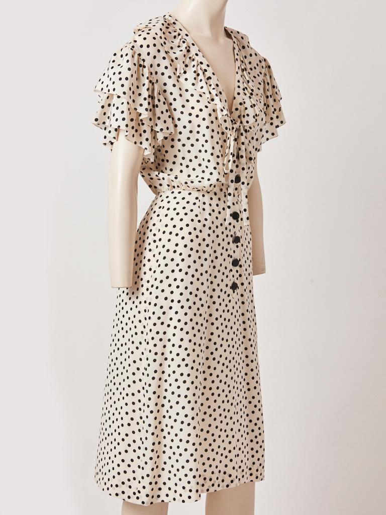 Beige Yves Saint Laurent RIve Gauche Silk Polka Dot Day Dress For Sale