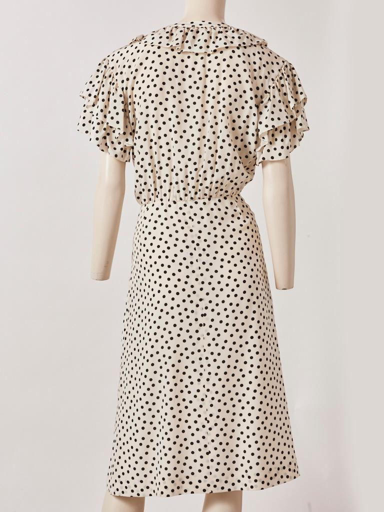 Yves Saint Laurent RIve Gauche Silk Polka Dot Day Dress In Good Condition For Sale In New York, NY