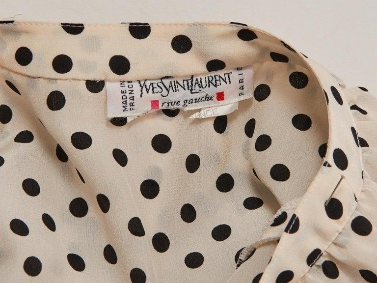 Women's Yves Saint Laurent RIve Gauche Silk Polka Dot Day Dress For Sale