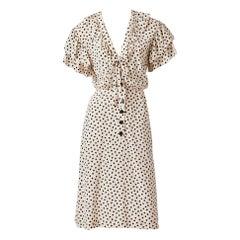 Yves Saint Laurent RIve Gauche Silk Polka Dot Day Dress