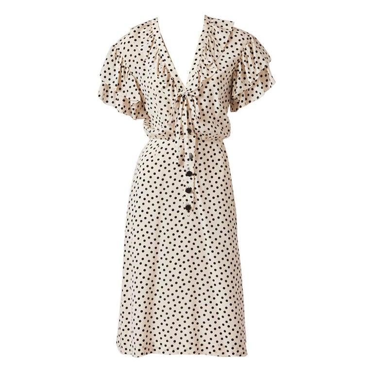 Yves Saint Laurent RIve Gauche Silk Polka Dot Day Dress For Sale