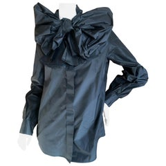 Yves Saint Laurent Rive Gauche Silk Taffeta Blouse with Exaggerated Pussy Bow