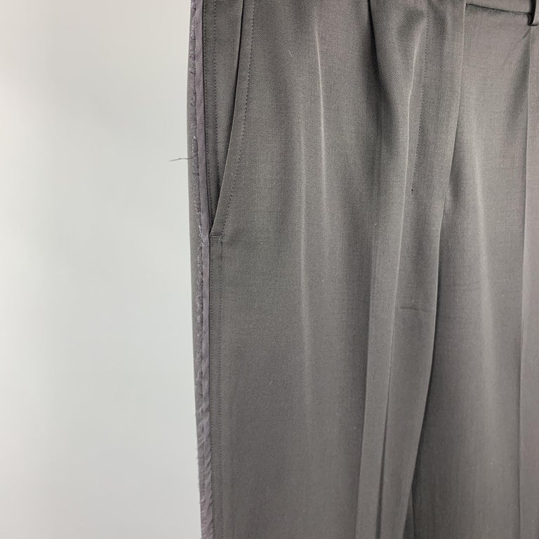 YVES SAINT LAURENT Rive Gauche Size 6 Black Wool Raw Edged Dress Pants In Good Condition For Sale In San Francisco, CA