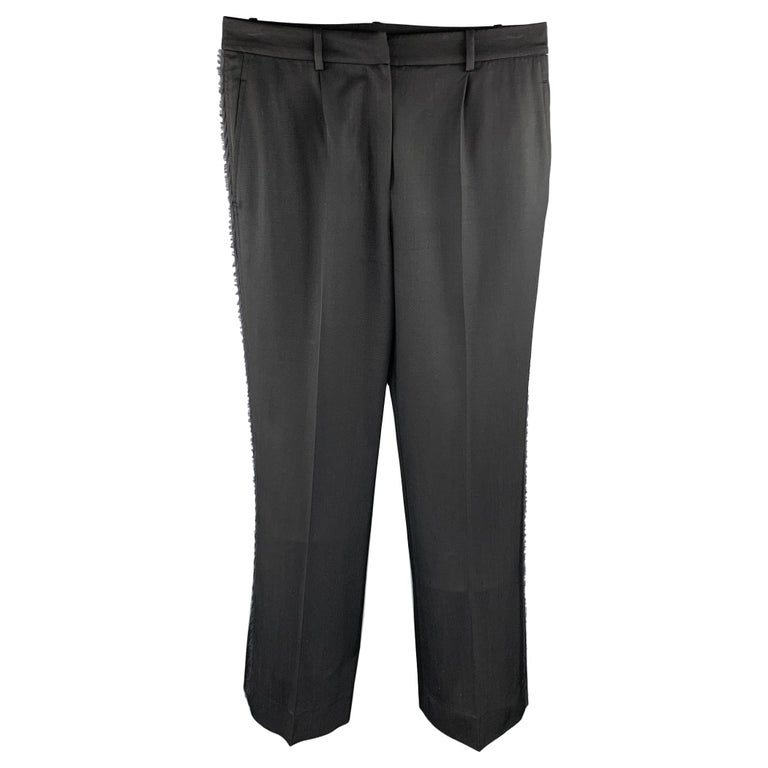 YVES SAINT LAURENT Rive Gauche Size 6 Black Wool Raw Edged Dress Pants For Sale