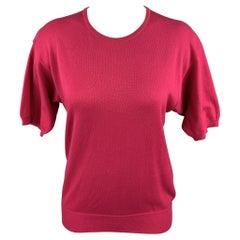 YVES SAINT LAURENT Rive Gauche Size M Fuchsia Cotton Short Sleeve Sweater