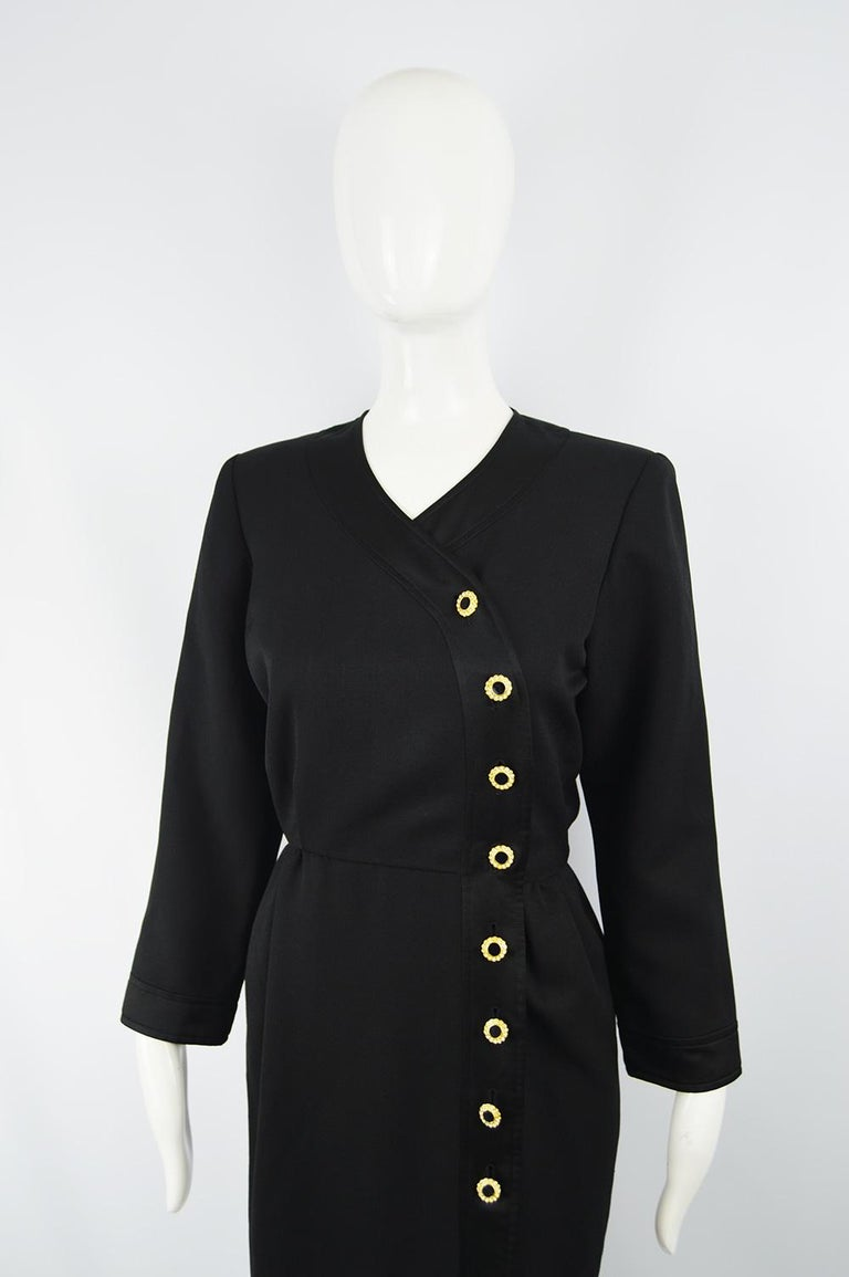 Yves Saint Laurent Rive Gauche Sophisticated Black Faille Blouson Dress, 1980s In Excellent Condition For Sale In Doncaster, South Yorkshire