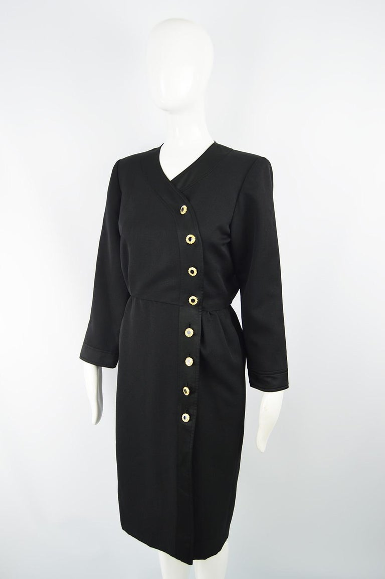 Yves Saint Laurent Rive Gauche Sophisticated Black Faille Blouson Dress, 1980s For Sale 1