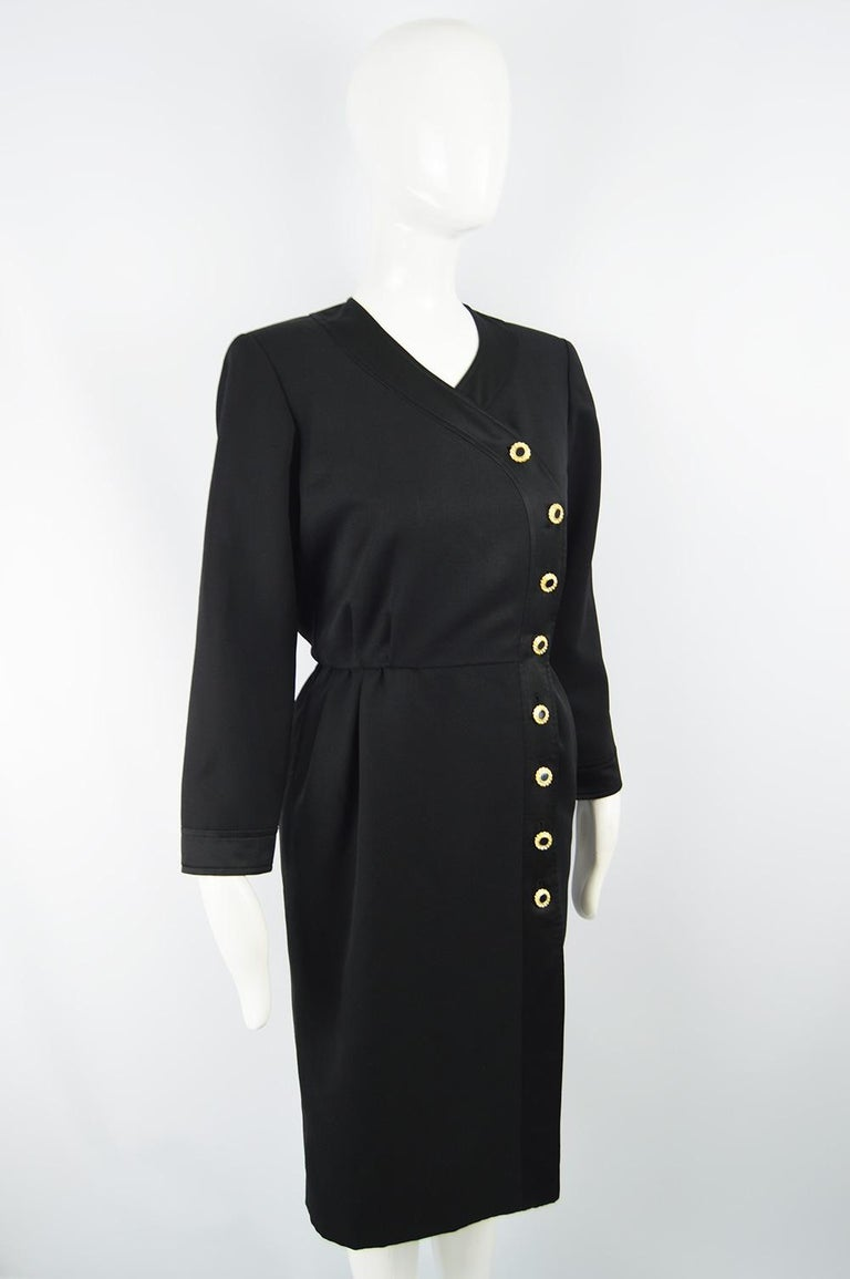 Yves Saint Laurent Rive Gauche Sophisticated Black Faille Blouson Dress, 1980s For Sale 2
