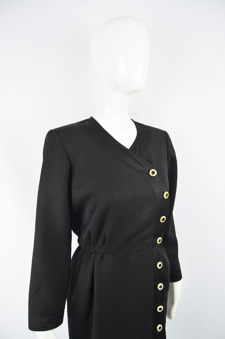 Yves Saint Laurent Rive Gauche Sophisticated Black Faille Blouson Dress, 1980s For Sale 3