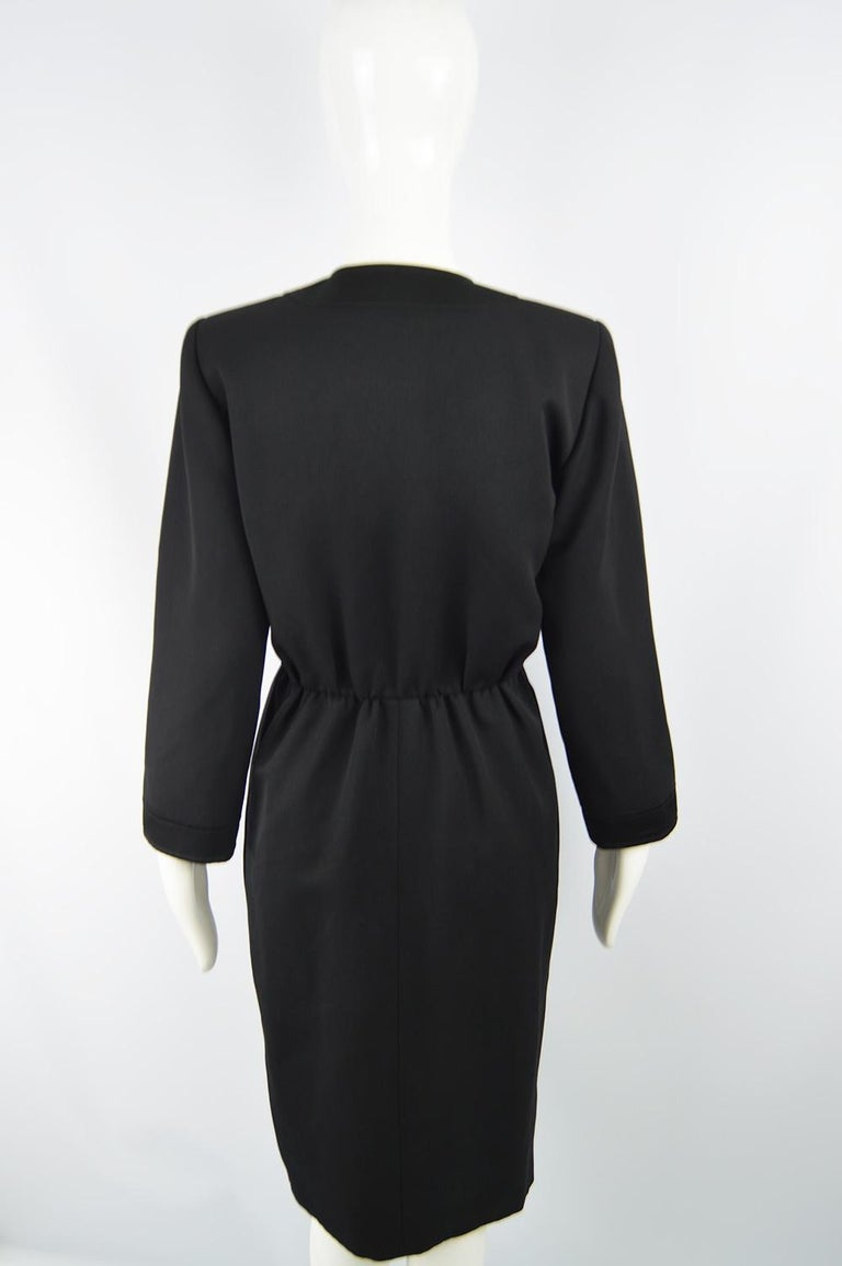 Yves Saint Laurent Rive Gauche Sophisticated Black Faille Blouson Dress, 1980s For Sale 4