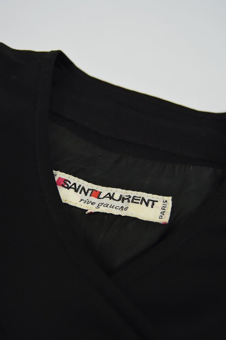 Yves Saint Laurent Rive Gauche Sophisticated Black Faille Blouson Dress, 1980s For Sale 5