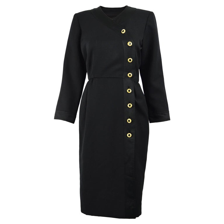 Yves Saint Laurent Rive Gauche Sophisticated Black Faille Blouson Dress, 1980s For Sale